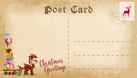 Christmas post card with cute cartoon reindeer and copy space for text. Vector royalty free stock photos