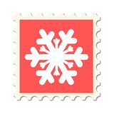 Christmas post stamp snowflake Stock Photo