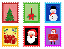 Christmas post stamps Royalty Free Stock Photos