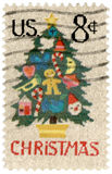 Christmas postage stamp. Vintage Christmas postage stamp on white stock photos