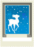 Christmas postage stamp with deer Stock Photo
