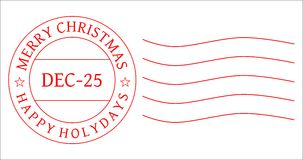 CHRISTMAS POSTAGE STAMP - POSTMARK VECTOR. Red Christmas postage stamp to be used by designers. Vector [eps] format is also available Stock Photo