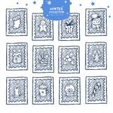 Christmas postage stamp stickers royalty free illustration