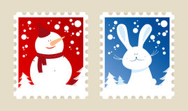 Christmas postage stamps. Stock Photos