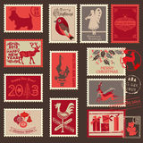 Christmas Postage Stamps. For design, scrapbook - in Royalty Free Stock Images