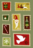 Christmas postage stamps set Stock Images