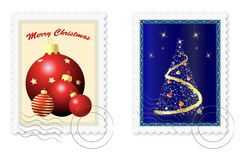 Christmas postage stamps. Vector illustration Royalty Free Stock Photos