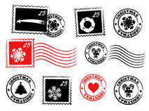 Christmas postage vector set. Christmas postage set with stamps and rubber stamps + vector eps file Royalty Free Stock Photos