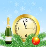 Christmas postal with the bottle of champagne and clock Stock Photos
