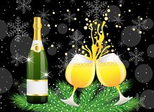 Christmas postal with a bottle and glasses of champagne Royalty Free Stock Image