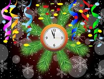 Christmas postal with a clock, serpentine and confetti Stock Image