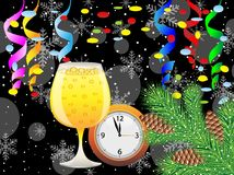 Christmas postal with glass of champagne, clock and festive deco. Rations,vector illustration Royalty Free Stock Images