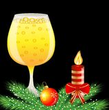 Christmas postal with glass of champagne and festive decorations. Vector illustration Royalty Free Stock Photography