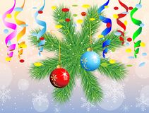 Christmas postal with green branches and decorations. Vector illustration Stock Photo
