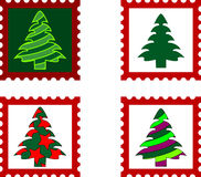 Christmas Postal stamp. Postal stamp with Christmas trees. Vector illustration Stock Photo