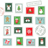 Christmas postal stamps set. Royalty Free Stock Images