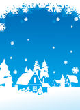 Christmas postcard. With winter village landscape Royalty Free Stock Photos
