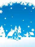 Christmas postcard. With winter village landscape royalty free illustration
