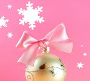 Christmas postcard. Christmas decoration close-up with christmas balls on pink background royalty free stock photo