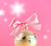 Christmas postcard. Christmas decoration close-up with christmas balls on pink background royalty free stock photography