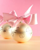Christmas postcard. Christmas decoration close-up with christmas balls on pink background stock image