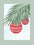 Christmas Postcard. Green Christmas Tree Branch With Red Baubles Stock Images