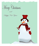 Christmas postcard. Christmas greeting card with snowman and text Stock Photo