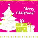 Christmas postcard. Cute Merry Christmas postcard desing Stock Photography