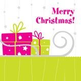 Christmas postcard. Cute Merry Christmas postcard desing stock illustration