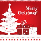 Christmas postcard. Cute Merry Christmas postcard desing Stock Photos