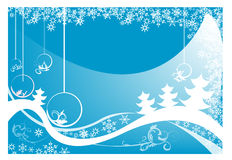 Christmas postcard. Abstract blue background with Christmas balls, small fir trees, blue bubbles, and abstract snowflakes Stock Images