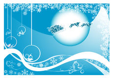 Christmas postcard. Abstract blue background with Christmas balls, small fir trees, blue bubbles, and abstract snowflakes Royalty Free Stock Photo