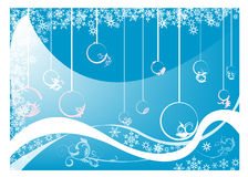 Christmas postcard. Abstract blue background with Christmas balls, small fir trees, blue bubbles, and abstract snowflakes Stock Photography