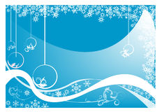 Christmas postcard. Abstract blue background with Christmas balls, small fir trees, blue bubbles, and abstract snowflakes Stock Photo