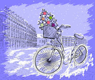 Christmas postcard with bicycle and Christmas tree Royalty Free Stock Photos