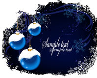 Christmas postcard with blue balls and snow_2 Royalty Free Stock Photography