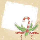 Christmas postcard with candy cane Royalty Free Stock Images
