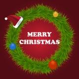 Christmas postcard. Christmas card with wreath vector illustration Stock Image