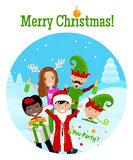 Christmas Postcard With 5 Characters Royalty Free Stock Images