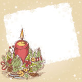 Christmas postcard with cute burning candle Royalty Free Stock Photo