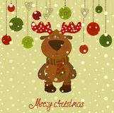 Christmas postcard with deer and snow Stock Images