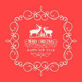 The Christmas postcard. With deers and damask frame over red background. Vector illustration Royalty Free Illustration
