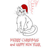 Christmas postcard design with santa cat Royalty Free Stock Photo