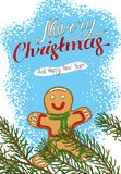 Christmas Postcard with Fir Branch and Gingerbread. Man Stock Photography