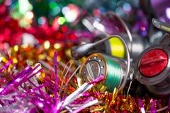 Christmas postcard for fishers Stock Image