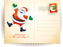Christmas postcard with funny Santa Royalty Free Stock Image