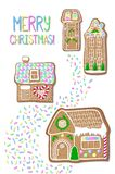 Christmas postcard with gingerbread houses. Merry Christmas handdrawn  postcard. Gingerbread figurines vertical illustration. Winter holiday greeting card. New Stock Images