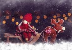Christmas postcard. Girl on sleigh with deer Royalty Free Stock Photos