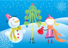 Christmas postcard with girl and snowman. Beautifull and funny girl and snowman Royalty Free Stock Images