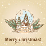 Christmas postcard with glass ball with snowflakes Royalty Free Stock Photography